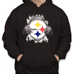 Steelers Ripping Chest - Unisex Gildan Midweight 50/50 Pullover Hoodie